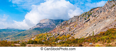 美しい, 山, パノラマ, 秋, カラフルである, 風景