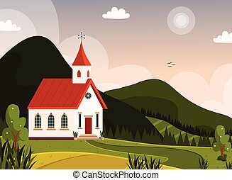 美しい, 山, 教会, スカンジナビア人, 風景