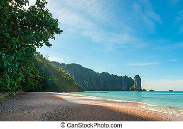 美しい, 山, 海, リゾート, krabi, タイ, 夜明け, 浜, 光景