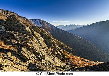 美しい, 山, evening., altai, russia., 光景