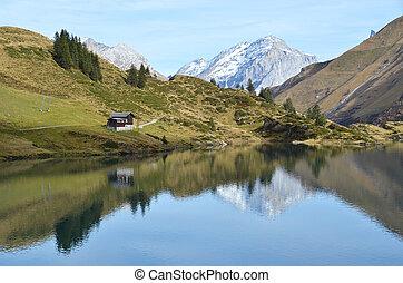 美しい, 山, lake., スイス