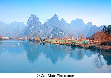 美しい, 山, yangshuo, 桂林, 陶磁器, 風景, karst