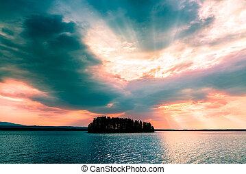 美しい, 島, 小さい, 空, の上