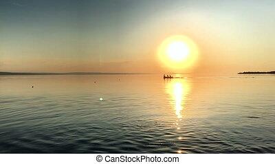 美しい, 川, 日没