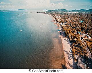 美しい, 州, 航空写真, chumphon, 海, タイ, 浜, 光景