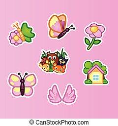 美しい, 平ら, セット, 動物, 野生, 夏, 野生の花, 昆虫, concept., 自然, バックグラウンド。, ピンク, 森林, コテッジ, ステッカー, 蝶