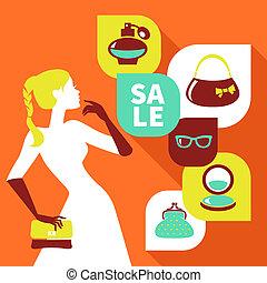 美しい, 平ら, 女性買い物, セール, icons., デザイン, 流行, シルエット