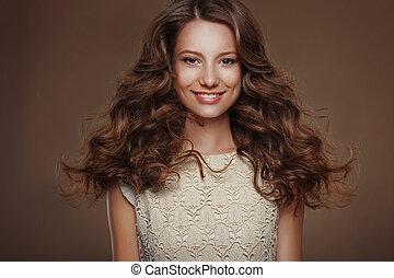 美しい, 幸せ, ブルネット, ∥で∥, 長い間, 巻き毛, 毛