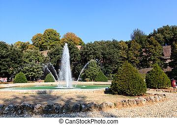 美しい, 庭, そして, 噴水, 中に, siena, トスカーナ, イタリア