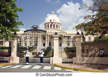 美しい, 建物, ユニフォーム, domingo, ドミニカ人, 宮殿, 政府, 国民, palacio ...