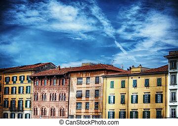 美しい, 建物, 中に, pisa, lungarno