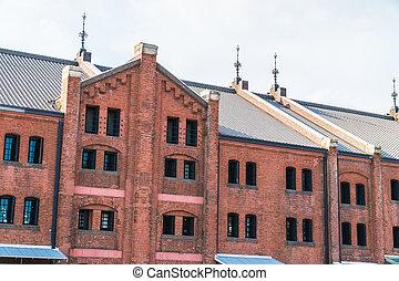 美しい, 建物, 建築, 外面, 倉庫, れんが