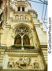 美しい, 建物, hall), (town, 細部, 1(人・つ), オーストリア, ウィーン, rathaus