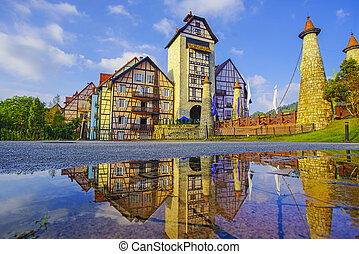 美しい, 建物, tinggi, malaysia., bukit, colmar, 公衆, 光景