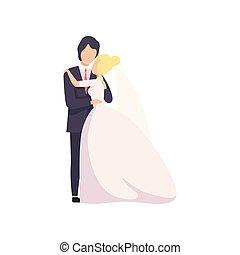 美しい, 式, 愛, 偶力が支える, イラスト, 優雅である, ベクトル, 背景, 結婚式, 白