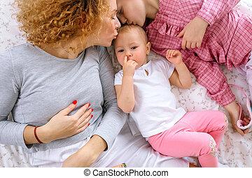 美しい, 彼の, 娘, 鼻, 母, 赤ん坊, 接吻, 盗品