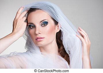 美しい, 彼女, 上に, 顔, 花嫁, ベール