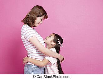 美しい, 彼女, 子を抱いている母親, 幸せ