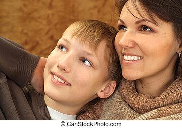 美しい, 彼女, 息子, 母, コーカサス人, すてきである
