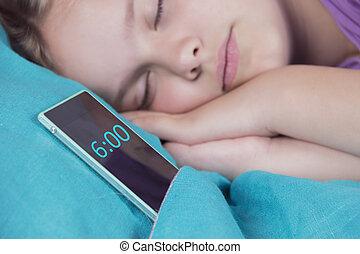 美しい, 彼女, 睡眠, 警報, まもなく, 次に, 意志, ring., 電話, 穏やかである, ベッド, 女の子