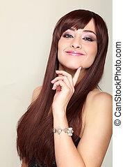 美しい, 微笑の 女性, ∥で∥, 長い髪, 考え