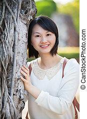 美しい, 微笑の 女性, アジア人