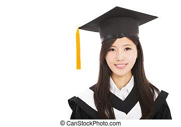 美しい, 微笑の 女性, アジア人, 卒業生
