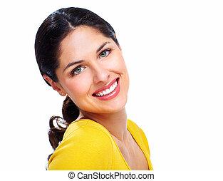 美しい, 微笑の 女性, .