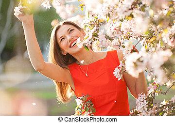 美しい, 微笑の 女性