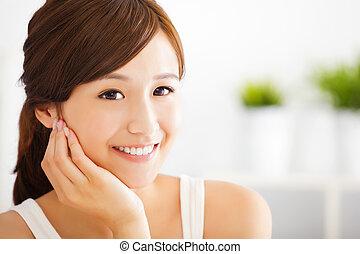 美しい, 微笑の 女性, 若い, アジア人