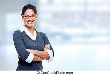 美しい, 微笑, ビジネス, woman.