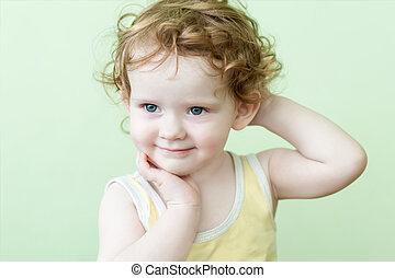 美しい, 微笑, 女の子, 巻き毛