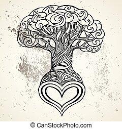 美しい, 心, スタイル, 形づくられた, 型, 木, 隔離された, 手, バックグラウンド。, ベクトル, 引かれる, 白, 根