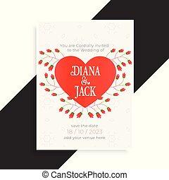 美しい, 心, デザイン, カード, 結婚式