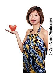 美しい, 心, 女, アップル, 形づくられた, アジア人