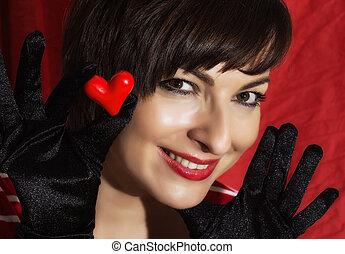 美しい, 心, 女, 彼女, 若い, 手, 微笑, 赤