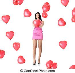 美しい, 心, 女, balloon, 若い, 赤