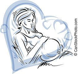 美しい, 心, 愛, 彼女, 妊娠した, concept., 囲まれた, 穏やかに, 手, 優しさ, 形, ベクトル, 女性, belly., 引かれる, 感動的である, 女性, フレーム, イラスト