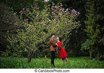 美しい, 恋人, 庭, モクレン, 若い