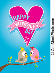 美しい, 恋人, 日, バレンタイン, 鳥, カード