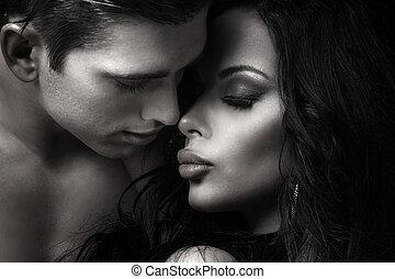 美しい, 恋人, kissing.