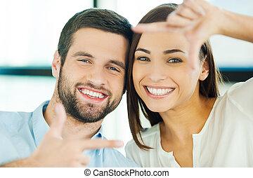 美しい, 恋人, love., フォーカス, 若い見ること, 結び付き, 他, によって, 指, それぞれ, フレーム, 情事