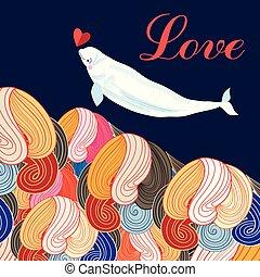 美しい, 愛, お祝い, 挨拶, narwhal, カード