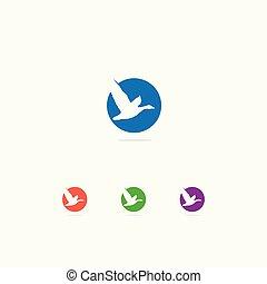 美しい, 愛, カラフルである, 平和, シンボル。, ペリカン, アヒル, ロゴ, icon., 鳥, design.