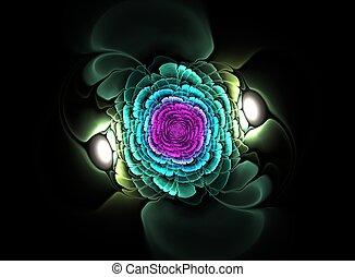 美しい, 抽象的, 花, フラクタル