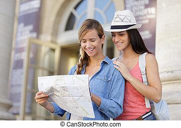 美しい, 探検, 女, 都市, 旅行者, 若い