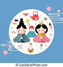 美しい, 日本語, 人形, 祝祭, ポスター