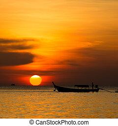 美しい, 日没, の上, ∥, 海
