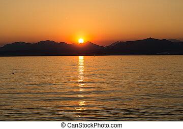 美しい, 日没, イタリア, 湖, garda
