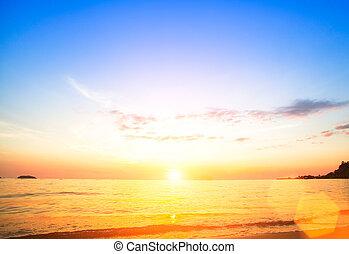 美しい, 日没, 上に, sea.